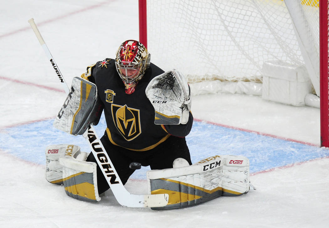 Vegas Golden Knights goalie Maxime Lagace makes a save against the Winnipeg Jets in the third period of their NHL hockey game at T-Mobile Arena in Las Vegas Friday November 10, 2017. Josh Holmberg ...