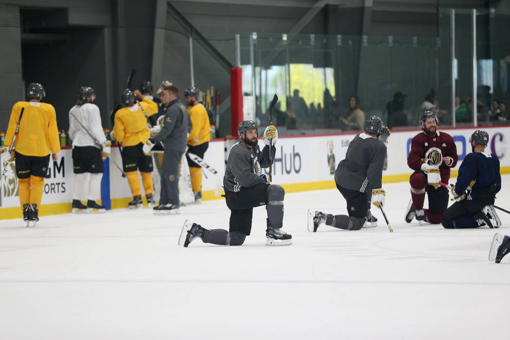 Vegas Golden Knights defenseman Deryk Engelland (5), center, during a team practice at City National Arena in Las Vegas, Thursday, May 24, 2018. Erik Verduzco Las Vegas Review-Journal @Erik_Verduzco