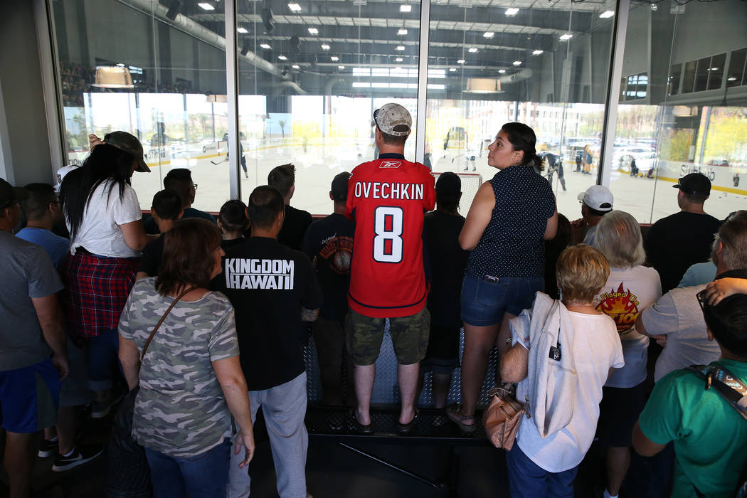 People including Capitals fan Todd Staub of Las Vegas, center, attends the Vegas Golden Knights practice at City National Arena in Las Vegas, Thursday, May 24, 2018. Erik Verduzco Las Vegas Review ...