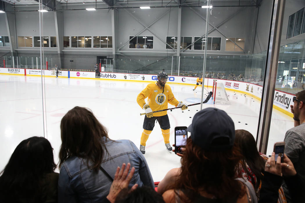 Vegas Golden Knights left wing Pierre-Edouard Bellemare (41) during a team practice at City National Arena in Las Vegas, Thursday, May 24, 2018. Erik Verduzco Las Vegas Review-Journal @Erik_Verduzco