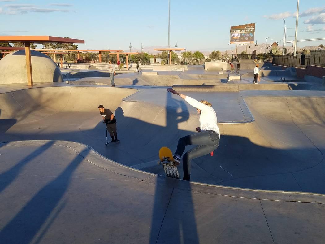 Skateboarders work their tricks at the skateboard park at Craig Ranch Regional Park on March 15, 2018. Richard N. Velotta/Las Vegas Review-Journal @RickVelotta