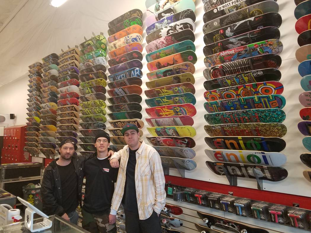 The Pharmacy Boardshop near the Craig Ranch Regional Park skatepark is an example of how the park's presence helped drive economic development. Owner Bret Fraser and employees Eryk Giammichele and ...