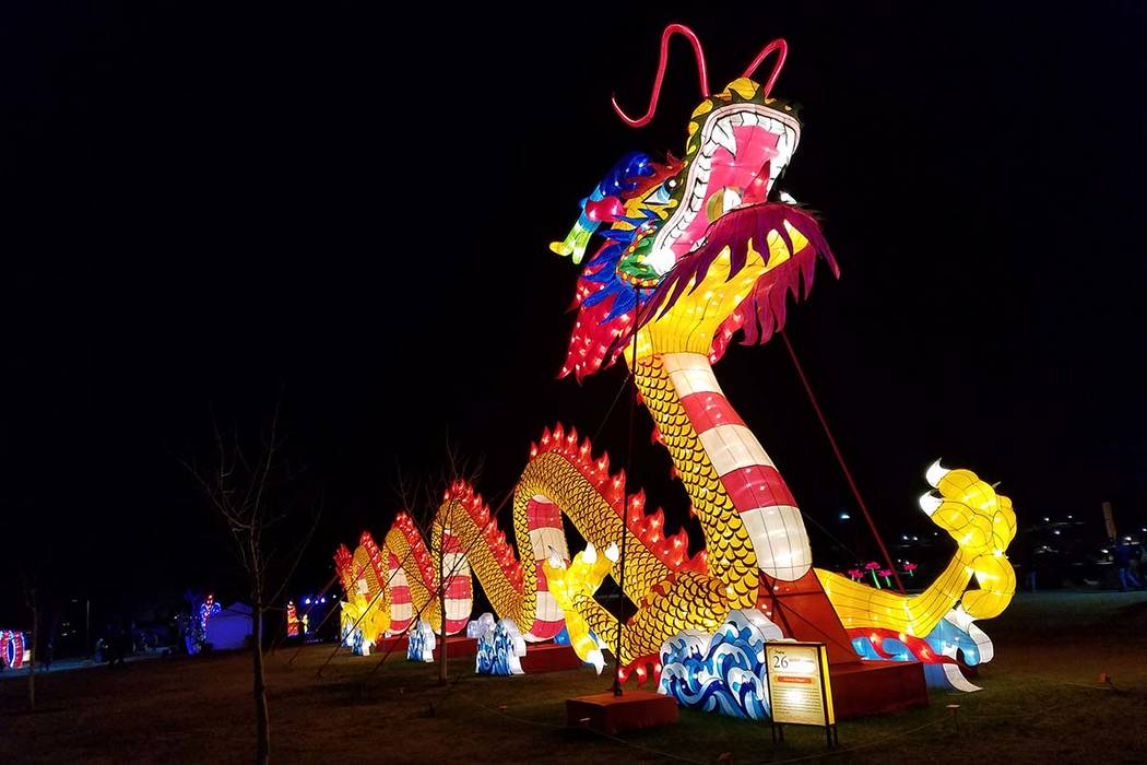 A massive dragon lantern lights up Craig Ranch Regional Park, which has become a magnet for festivals and special events, on Feb. 16, 2018. Richard N. Velotta/Las Vegas Review-Journal @RickVelotta