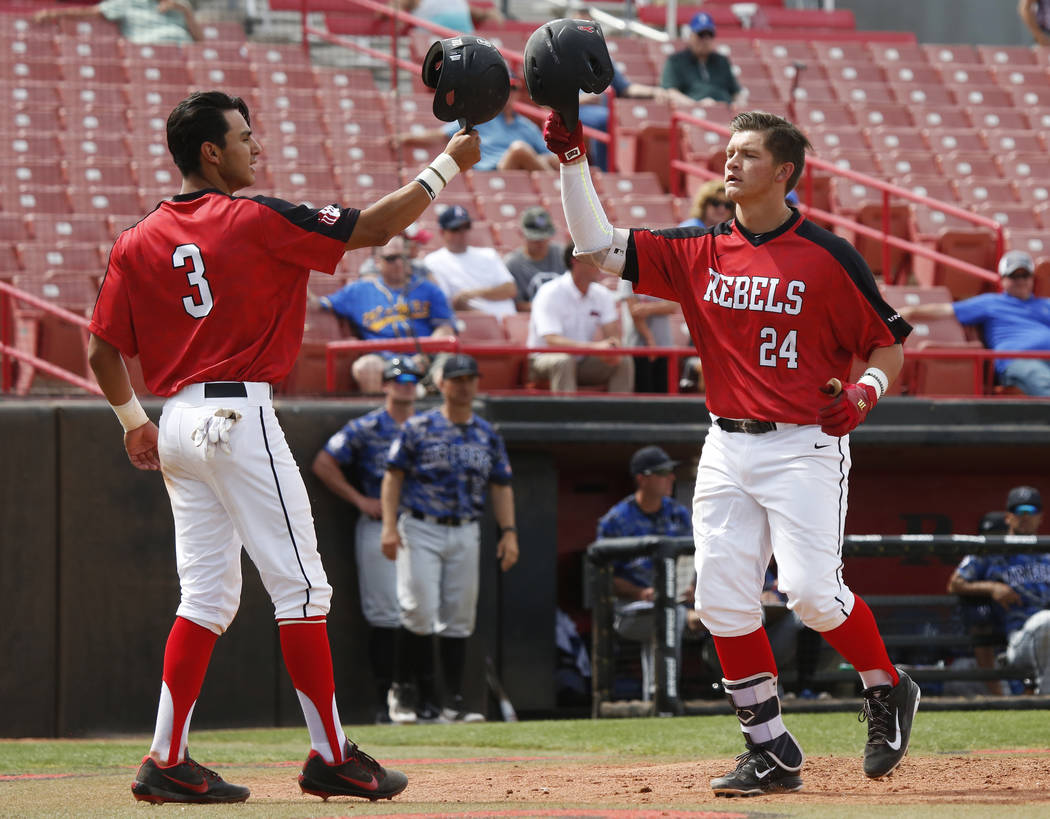 Nick Rodriguez (3), shown last month, hit two of UNLV's four home runs Saturday in the Rebels' 8-1 rout of UNR at Wilson Stadium. (Andrea Cornejo Las Vegas Review-Journal @dreacornejo)