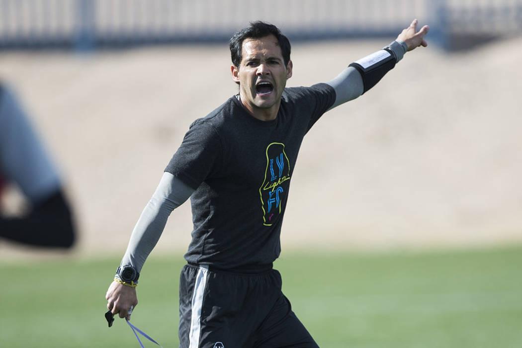 Las Vegas Lights FC coach Isidro Sánchez, seen in January. (Erik Verduzco Las Vegas Review-Journal)