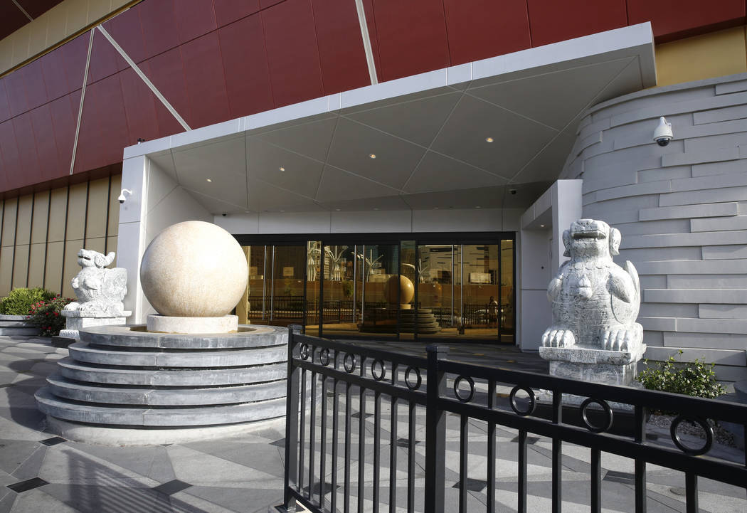 Statues outside of Lucky Dragon, which shut down gaming and casino restaurant operations in early Jan., in Las Vegas on Monday, April 16, 2018. Bizuayehu Tesfaye/Las Vegas Review-Journal @bizut ...