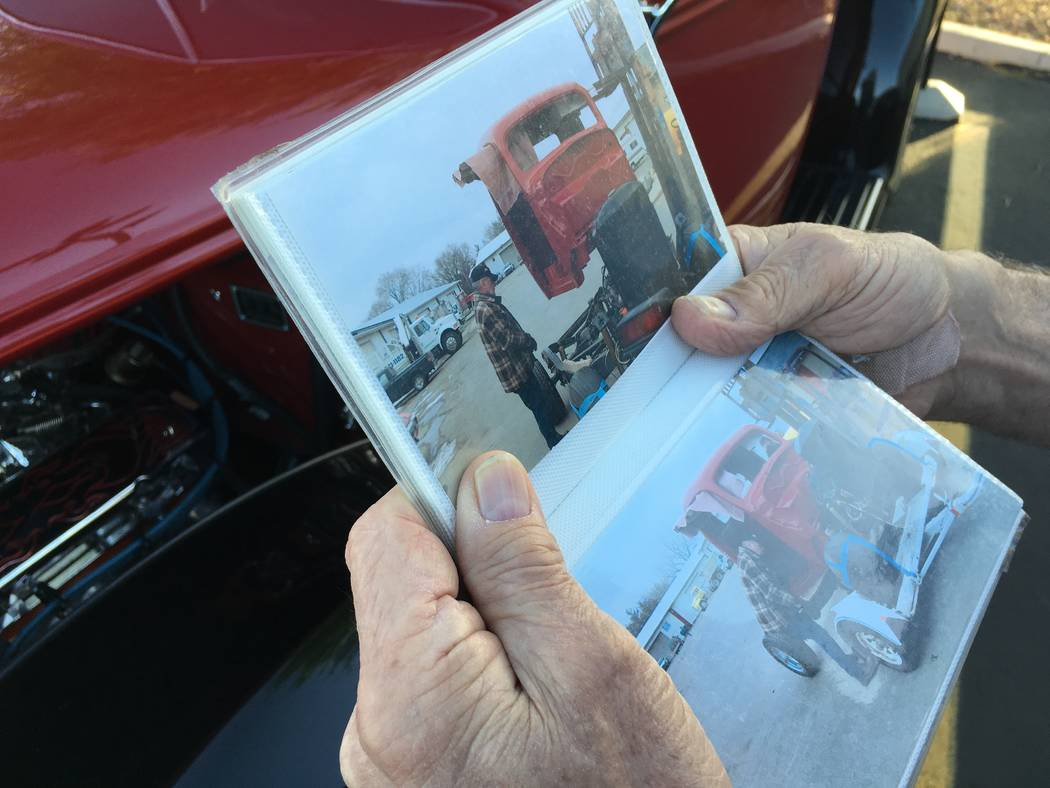 Glenn Immekus shows photos of his 1939 Ford pickup in its pre-restoration state. (John Przybys Las Vegas Review-Journal)