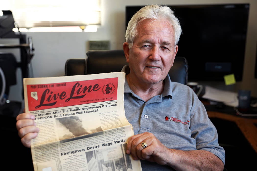 Don Griffie, who was one of the first to respond to the scene of the PEPCON explosion in Henderson in 1988, poses for a photograph at his office in Henderson, NV, on Monday, April 2, 2018. Andrea ...