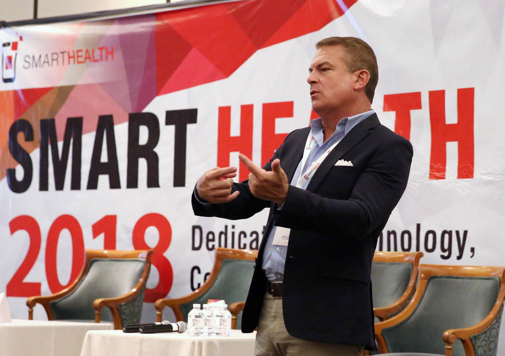 Tim Stanley, CEO and founder of Carepoynt, speaks during the 2018 Healthcare Technology Conference on Thursday, April 26, 2018, in Las Vegas. Bizuayehu Tesfaye/Las Vegas Review-Journal @bizutesfaye