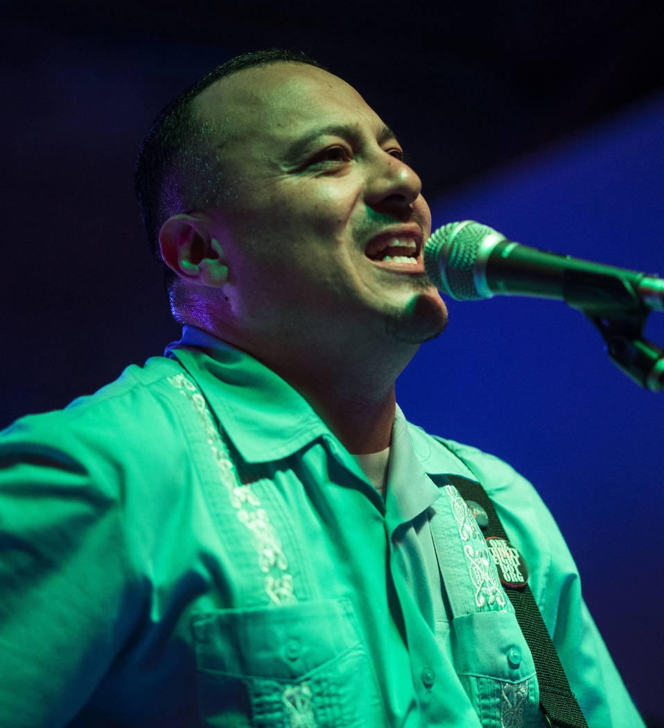 Los Carajos singer-bassist John Fernandez Jr. performs at Cornish Pasty in downtown Las Vegas on Saturday, April 28, 2018. Chase Stevens Las Vegas Review-Journal @csstevensphoto