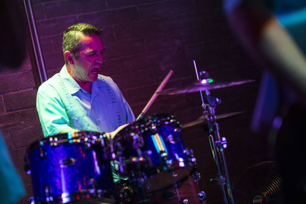 Los Carajos drummer Rich Castro performs at Cornish Pasty in downtown Las Vegas on Saturday, April 28, 2018. Chase Stevens Las Vegas Review-Journal @csstevensphoto