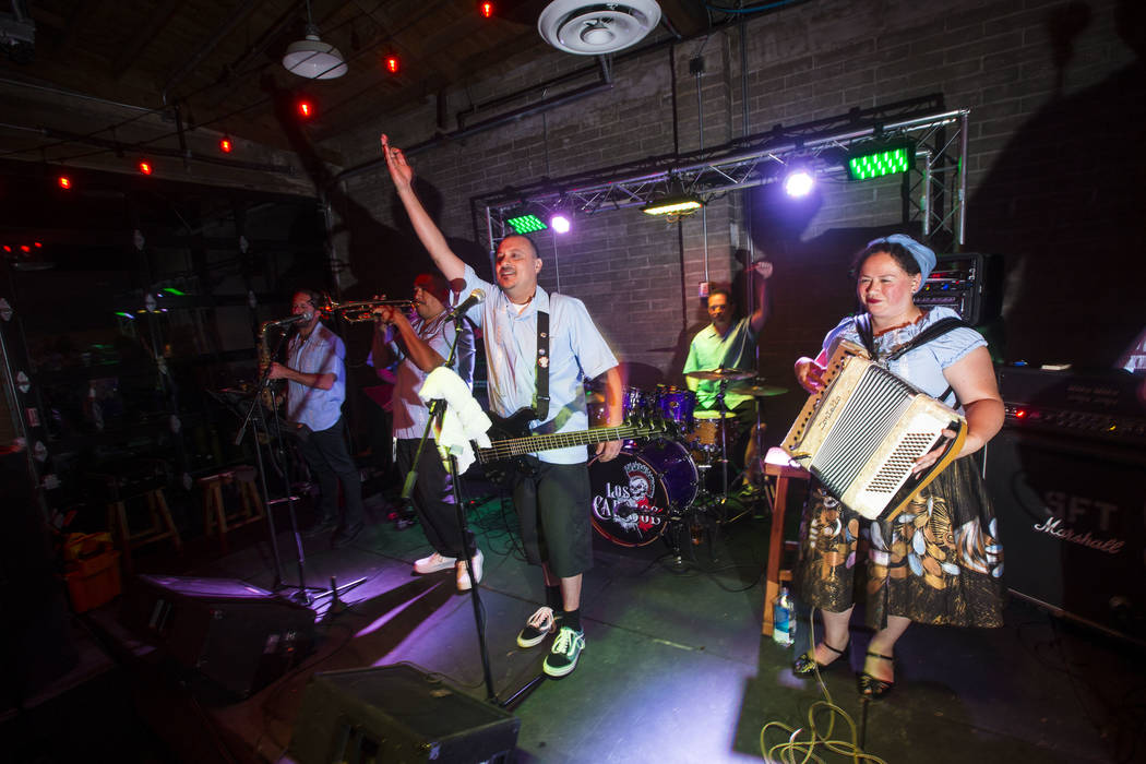 Los Carajos performs at Cornish Pasty in downtown Las Vegas on Saturday, April 28, 2018. Chase Stevens Las Vegas Review-Journal @csstevensphoto