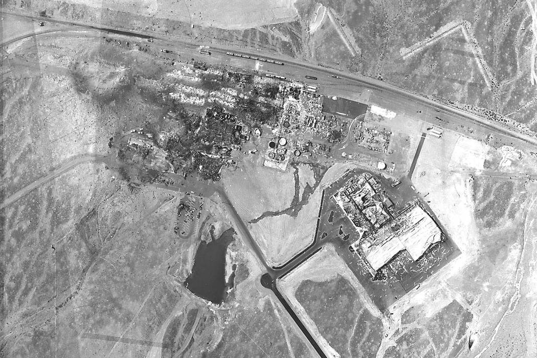 The PEPCON (Pacific Engineering & Production Co. of Nevada) facility in Henderson is shown in this aerial photograph sometime after the May 4, 1988 explosions.