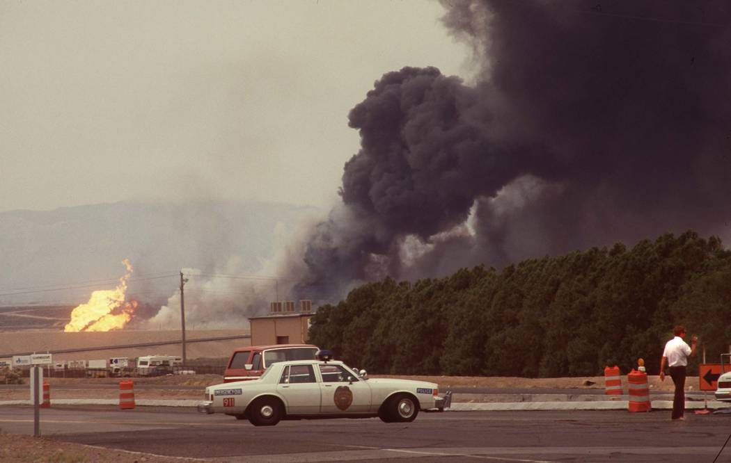 Black smoke billows from the Pacific Engineering Production Company of Nevada (PEPCON) plant in Henderson May 4, 1988, after a fire and explosion rocked the Las Vegas Valley. Two were killed hundr ...