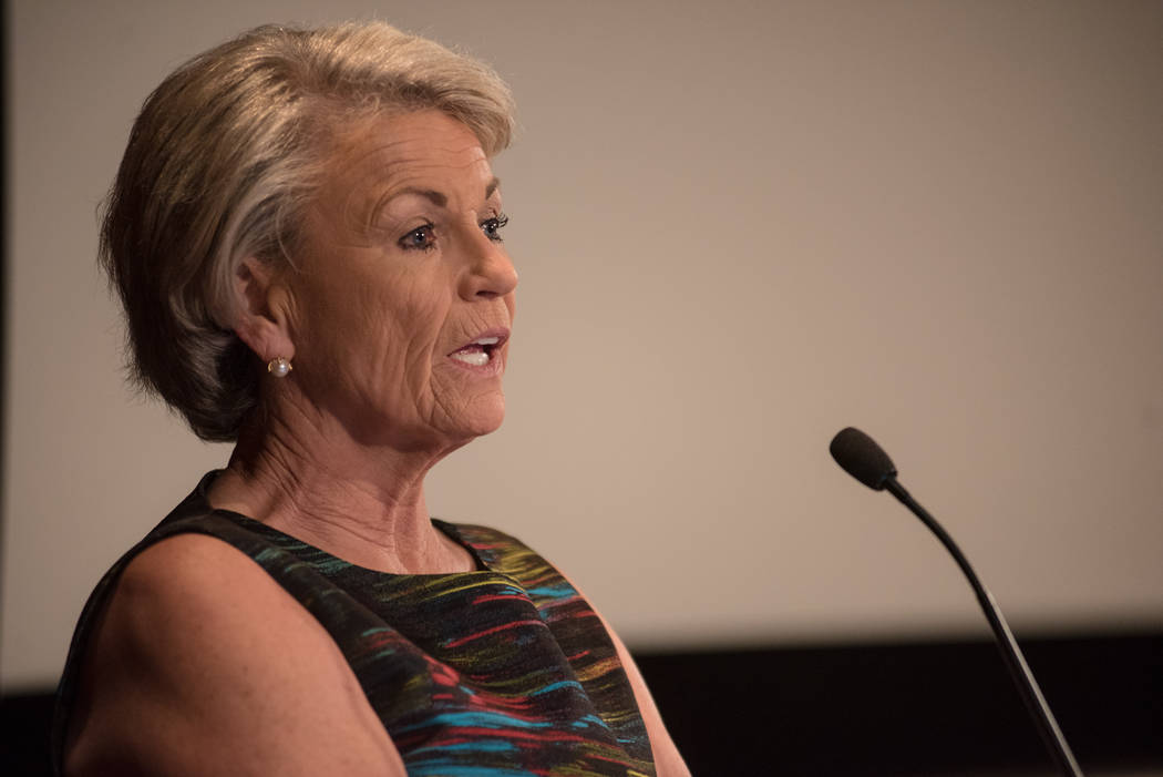Former Southern Nevada Water Authority Chief Pat Mulroy discusses her new book at UNLV's Greenspun College of Urban Affairs on Thursday, June 29, 2017, in Las Vegas. Morgan Lieberman Las Ve ...