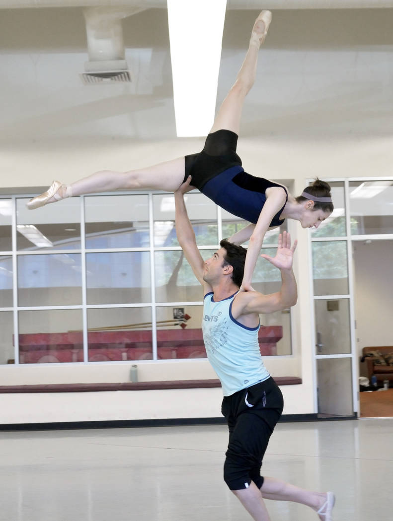 "Sergio Alvarez and Emma McGirr rehearse for the world premier of choreographer Matthew Neenan's ""Until December"" at the Nevada Ballet Theatre studios at 1651 Inner Circle in L ..."
