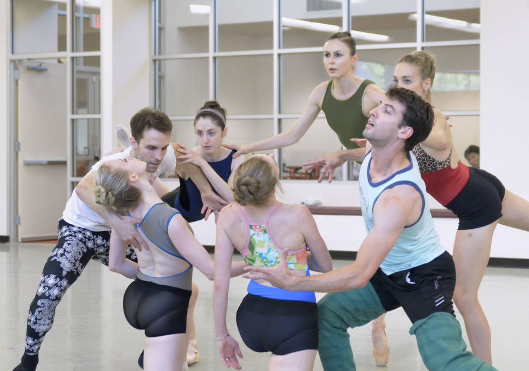 "Dancers rehearse for the world premier of choreographer Matthew Neenan's ""Until December"" at the Nevada Ballet Theatre studios at 1651 Inner Circle in Las Vegas on Thursday, A ..."