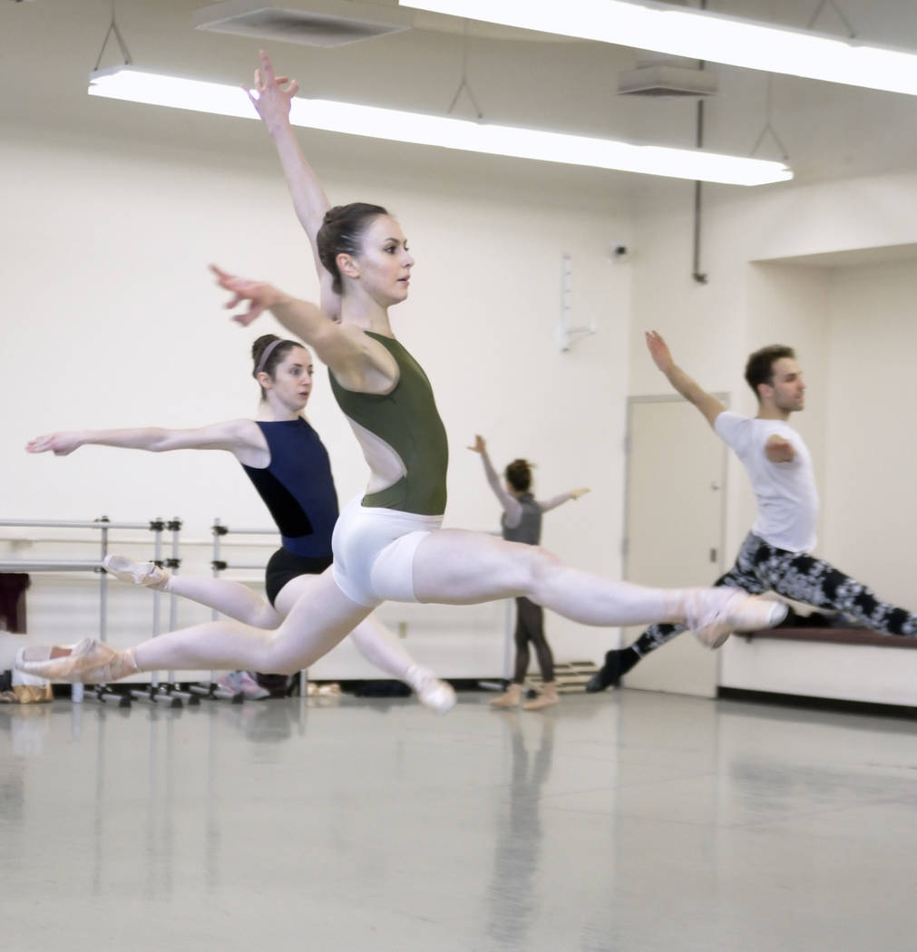 "Christina Ghiardi rehearses for the world premier of choreographer Matthew Neenan's ""Until December"" at the Nevada Ballet Theatre studios at 1651 Inner Circle in Las Vegas on ..."