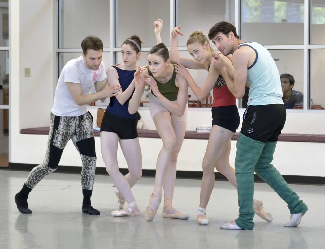 "Dancers, from left, David Hochberg, Emma McGirr, Christina Ghiardi, Jaime DeRocker and Sergio Alvarez rehearse for the world premier of choreographer Matthew Neenan's ""Until December ..."