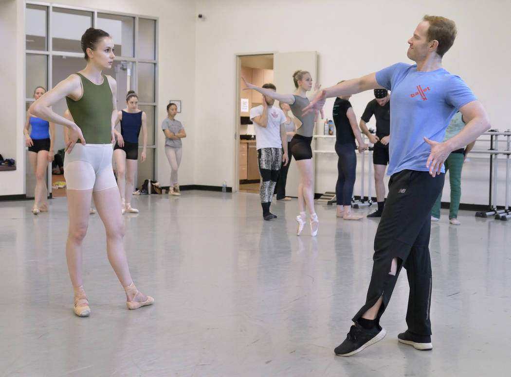 "Choreographer Matthew Neenan, left, talks with Christina Ghiardi during a rehearsal for the premier of his work ""Until December"" at the Nevada Ballet Theatre studios at 1651 Inner Ci ..."