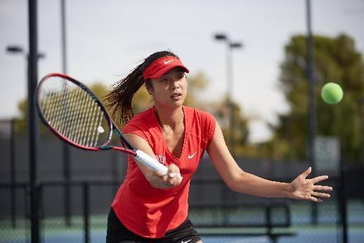 UNLV tennis player Aiwen Zhu in action in this undated photo. Photo courtesy of UNLV Athletics.