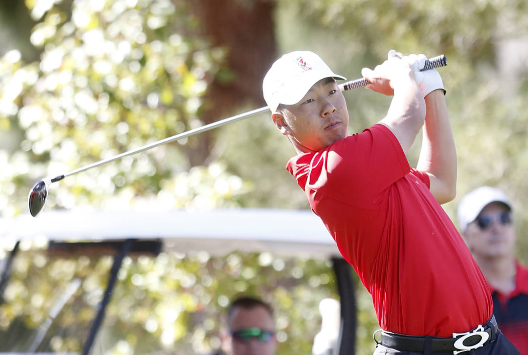 UNLV sophomore Justin Kim, shown last year, tied with senior teammate Shintaro Ban for 21st in the NCAA Championships in Stillwater, Okla. (Bizuayehu Tesfaye/Las Vegas Review-Journal) @bizutesfaye