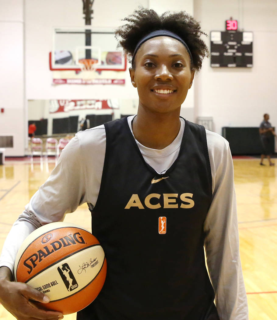Las Vegas Aces guard Sequoia Holmes poses for a photo after team practice at UNLV's practice court on Tuesday, May 1, 2018, in Las Vegas. Bizuayehu Tesfaye/Las Vegas Review-Journal @bizutesfaye