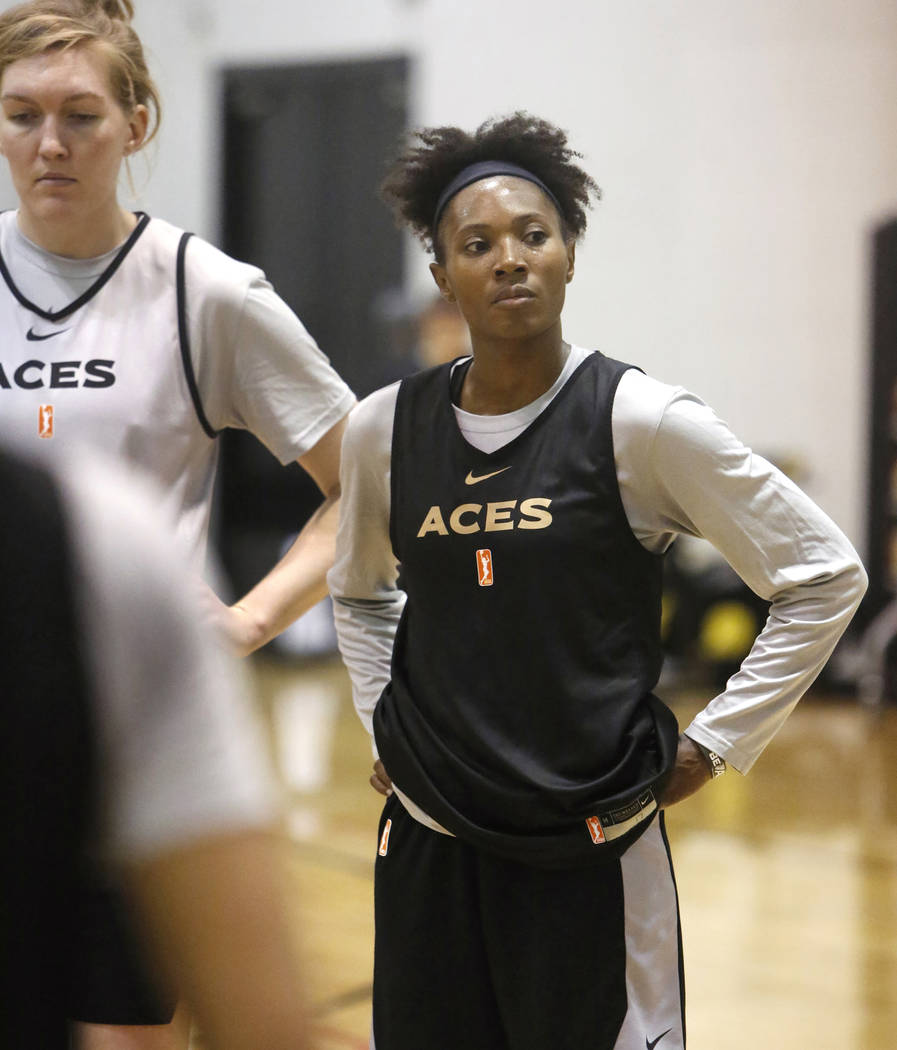 Las Vegas Aces guard Sequoia Holmes, right, listens to her coach after team practice at UNLV's practice court on Tuesday, May 1, 2018, in Las Vegas. Bizuayehu Tesfaye/Las Vegas Review-Journal @biz ...