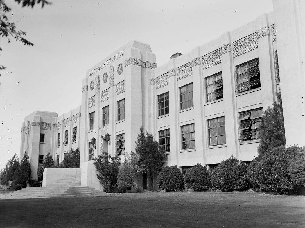 1/1/1948 - Las Vegas High School, 315 South 7th Street During the late 1920s and early 1930s the American Southwest saw an emergence of Mayan Revivalism or Mayan Art Deco/ Moderne architec ...