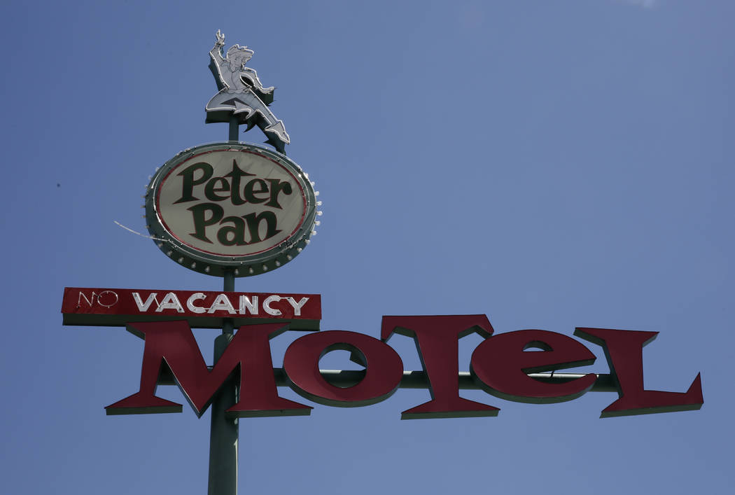 The Peter Pan Motel sign photographed on Wednesday, May 16, 2018, at 110 N. 13th St., in Las Vegas. Bizuayehu Tesfaye/Las Vegas Review-Journal @bizutesfaye