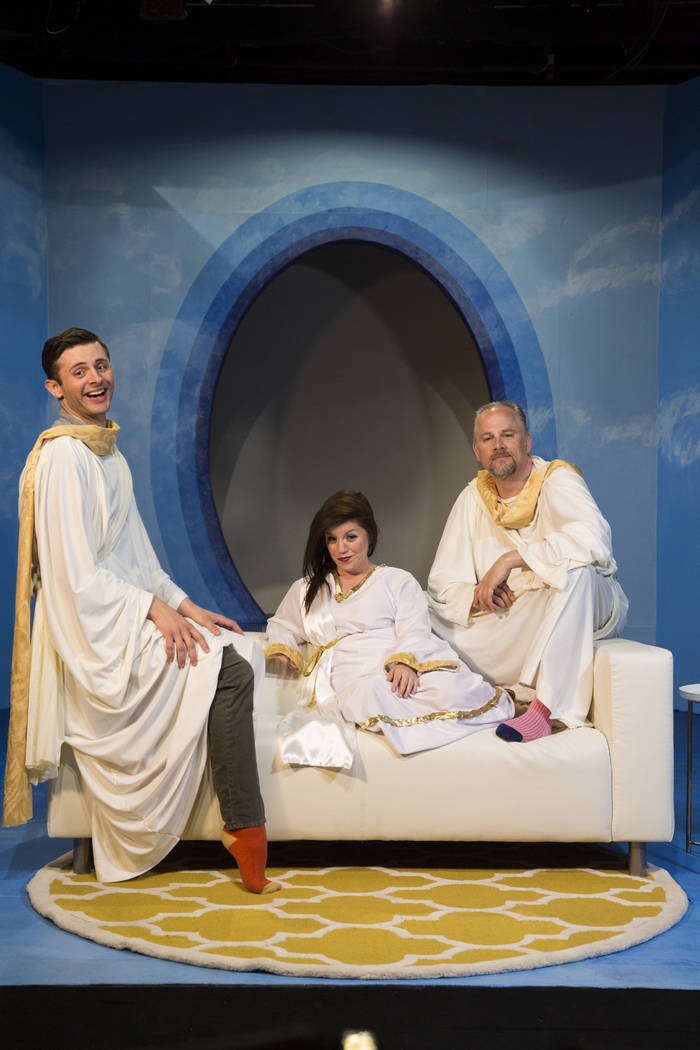 """Kade Cox, April Sauline and Glenn Heath rotate in the roles of God, Michael and Gabriel in Las Vegas Little Theatre's """"Act of God."""""""
