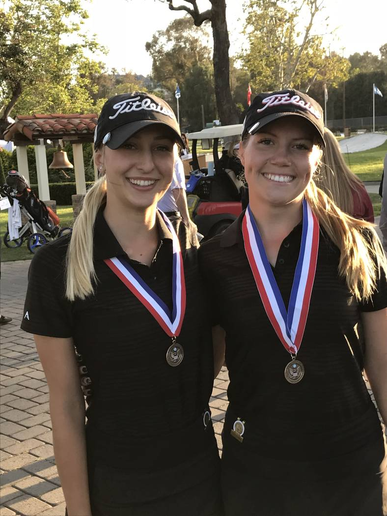 Southern Nevada graduating high school golfers Annick Hackiewicz and Sydney Smith won low medalist honors at the United States Golf Association Women's Four-Ball team event at El Caballero Count ...