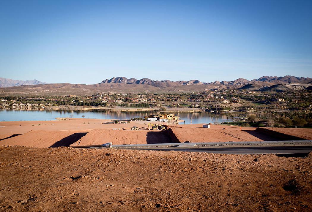 Construction is underway at Estates at Reflection Bay in Lake Las Vegas. (Tonya Harvey)