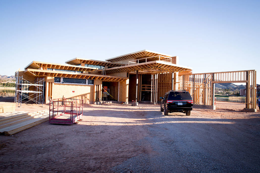 This showcase home is under construction Estates at Reflection Bay in Lake Las Vegas. (Tonya Harvey)