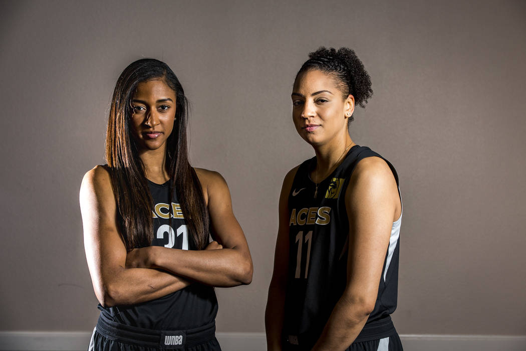 Las Vegas Aces guard/fowrward Jamie Nared (31) and forward Cierra Burdick (11), who both played together for the University of Tennessee, during the Aces media day at MGM Grand in Las Vegas on Thu ...
