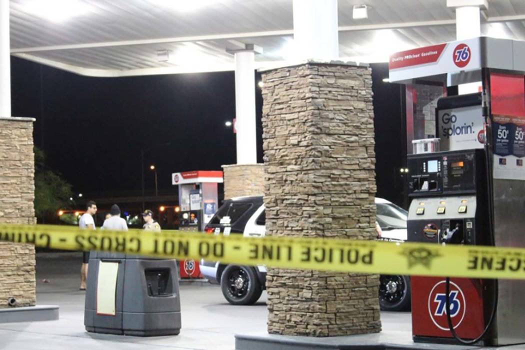 A suspect is in custody Tuesday morning after a fight inside a northwest Las Vegas gas station resulted in a man being shot several times. (Max Michor/Las Vegas Review-Journal)