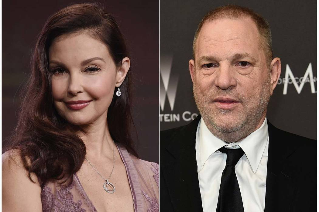 This combination photo shows Ashley Judd during the 2017 Television Critics Association Summer Press Tour in Beverly Hills, Calif., on July 25, 2017, left, and Harvey Weinstein at The Weinstein Co ...
