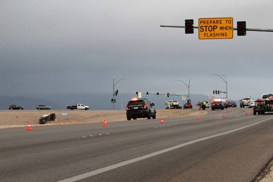 Nevada Highway Patrol investigates after one person was killed in a single-vehicle rollover crash on the 215 Beltway and Losee Road in North Las Vegas, Tuesday morning, May 1, 2018. (Max Michor/La ...