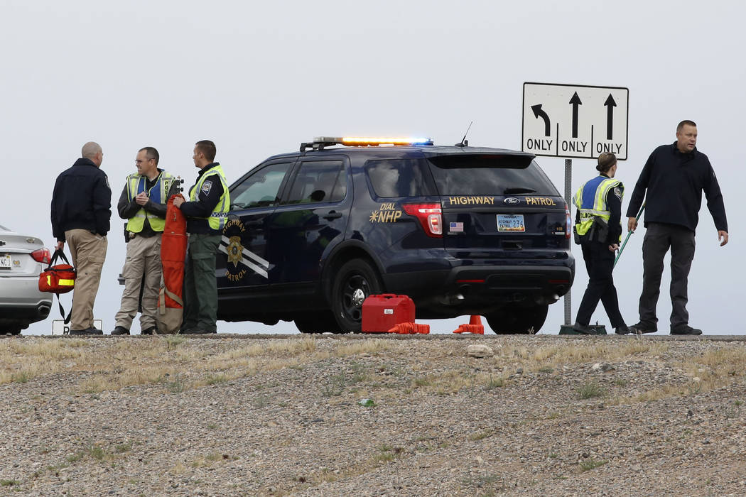 The Nevada Highway Patrol is investigating a fatal crash after a 48-year-old man was killed at the 215 Beltway and Losee Road in North Las Vegas on Tuesday, May 1, 2018. (Bizuayehu Tesfaye/Las Veg ...