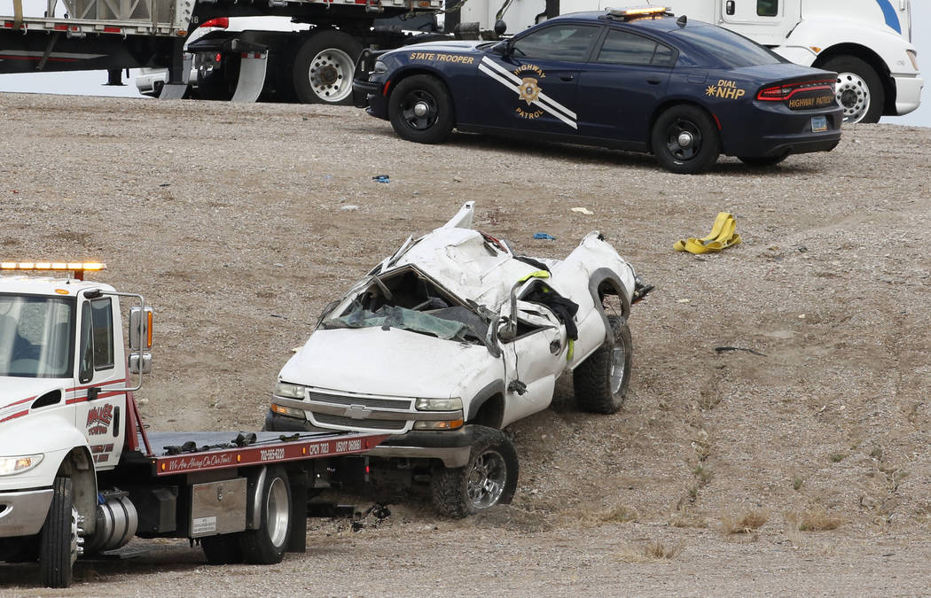 A 48-year-old man was killed in a single-vehicle rollover crash at the 215 Beltway and Losee Road in North Las Vegas on Tuesday, May 1, 2018. (Bizuayehu Tesfaye/Las Vegas Review-Journal) @bizutesfaye