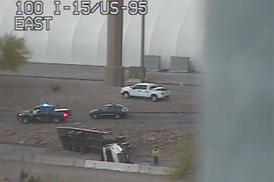 Crash closes northbound Interstate 15 on-ramp leading to southbound U.S. Highway 95, Tuesday, May 1, 2018. (RTC Fast Cameras)