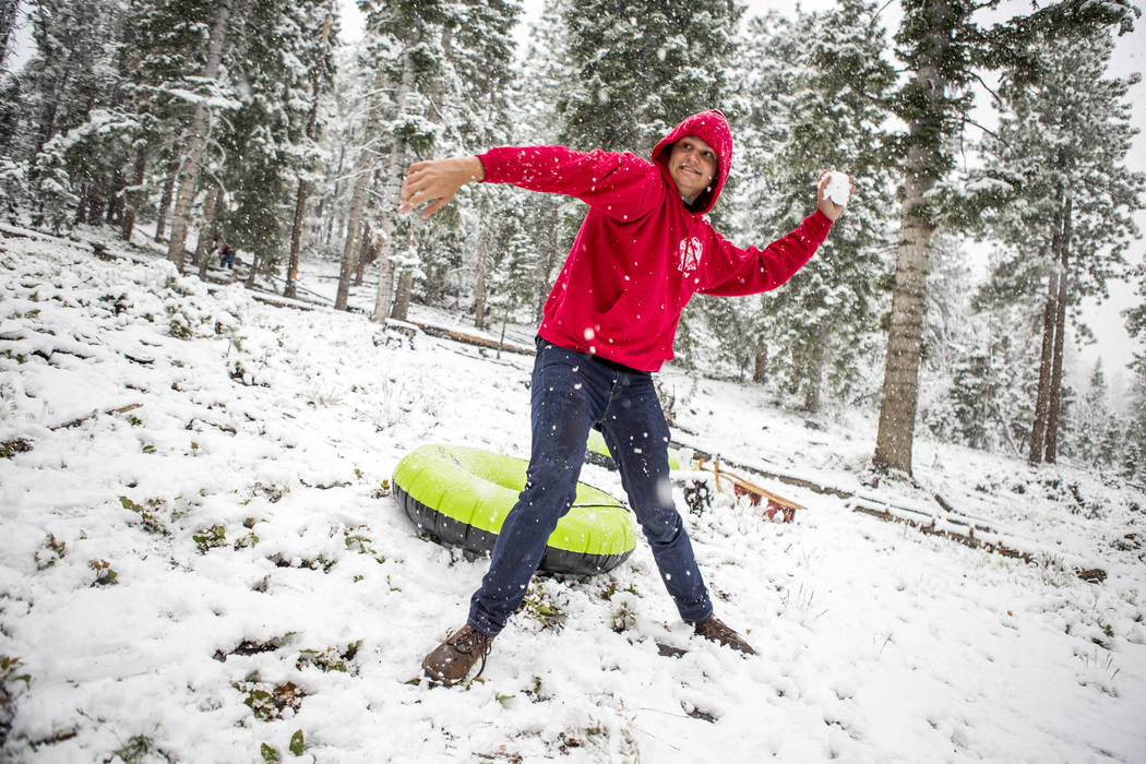 "Zack Schneider winds up to throw a snowball at his brother, Jeff, near the Cathedral Rock trailhead at Mount Charleston on Tuesday, May 1, 2018. ""I heard my brother talking about the weather ..."
