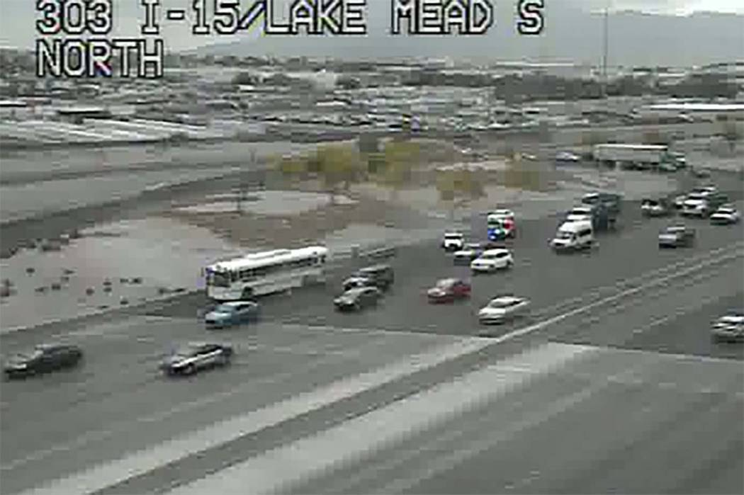 A transport bus carrying prisoners crashed Tuesday morning, May 1, 2018, on southbound Interstate 15 near Lake Mead Boulevard. (RTC Fast Cameras)