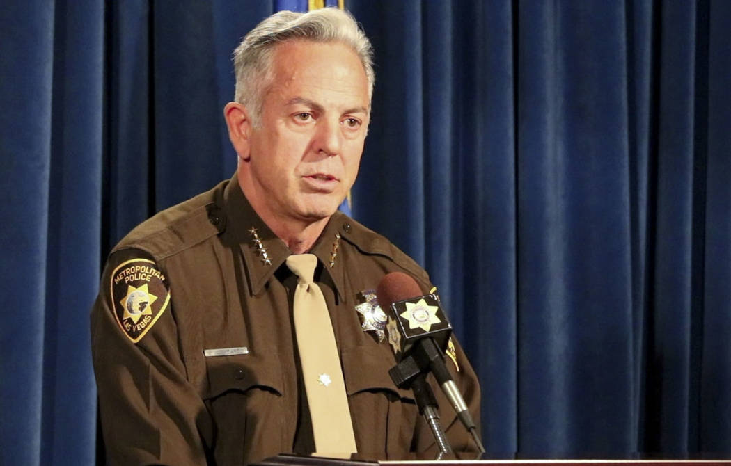 Clark County Sheriff Joe Lombardo briefs the media on Tuesday, May 1, 2018, about the release of audio and video records from the Oct. 1 shooting. He spoke during a news conference at Metropolitan ...