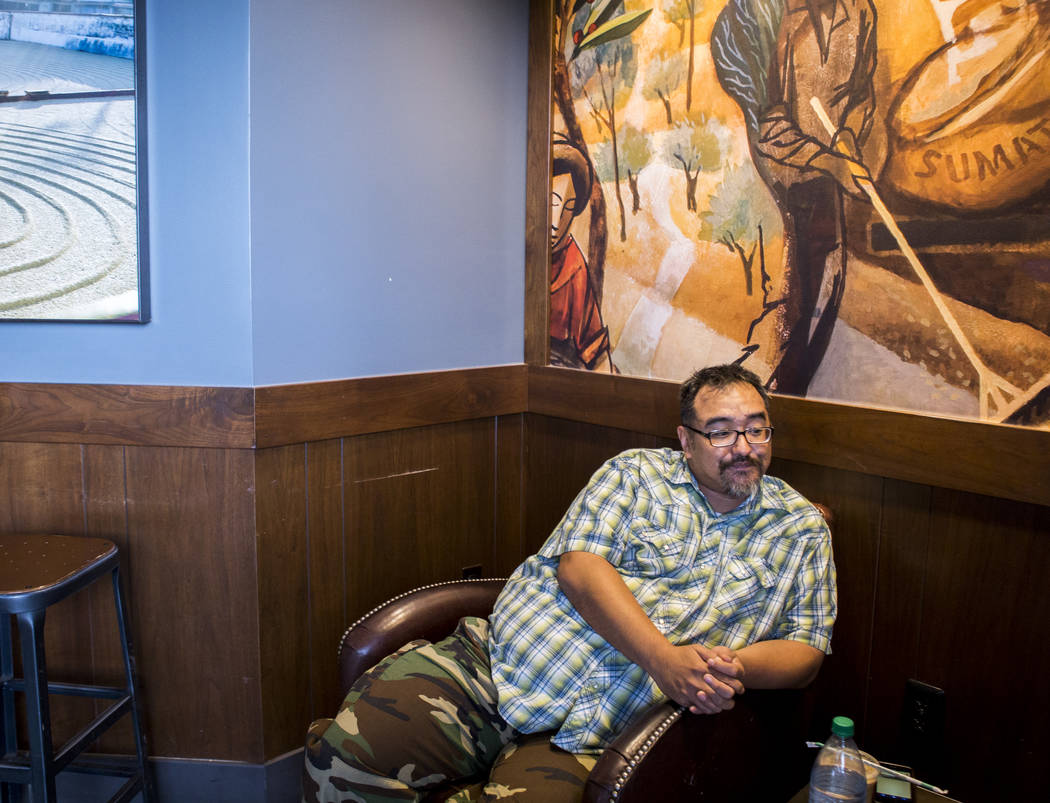 Mike Lee, a recovering addict, talks about his treatment and recovery process at the Starbucks at the intersection of Craig Road and Jones Boulevard in Las Vegas on Tuesday, May 1, 2018. Patrick ...