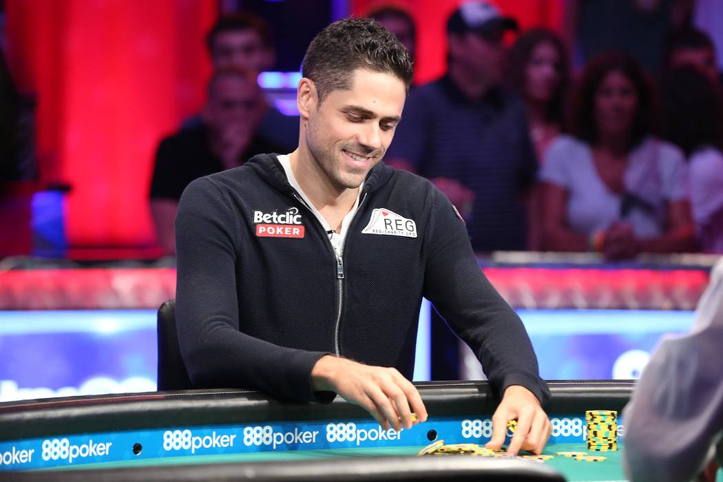 Benjamin Pollak plays at the World Series of Poker final table at the Rio Convention Center in Las Vegas on Saturday, July 22, 2017. Bridget Bennett Las Vegas Review-Journal @bridgetkbennett