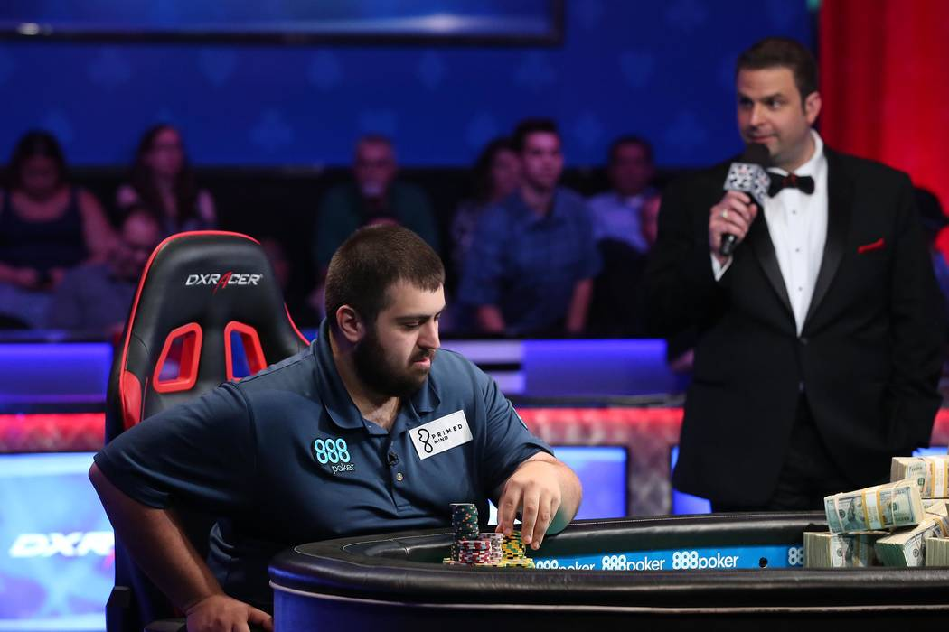 Scott Blumstein, pictured, faces off against Dan Ott at the World Series of Poker final table at Rio Convention Center in Las Vegas on Saturday, July 22, 2017. Bridget Bennett Las Vegas Review-Jo ...