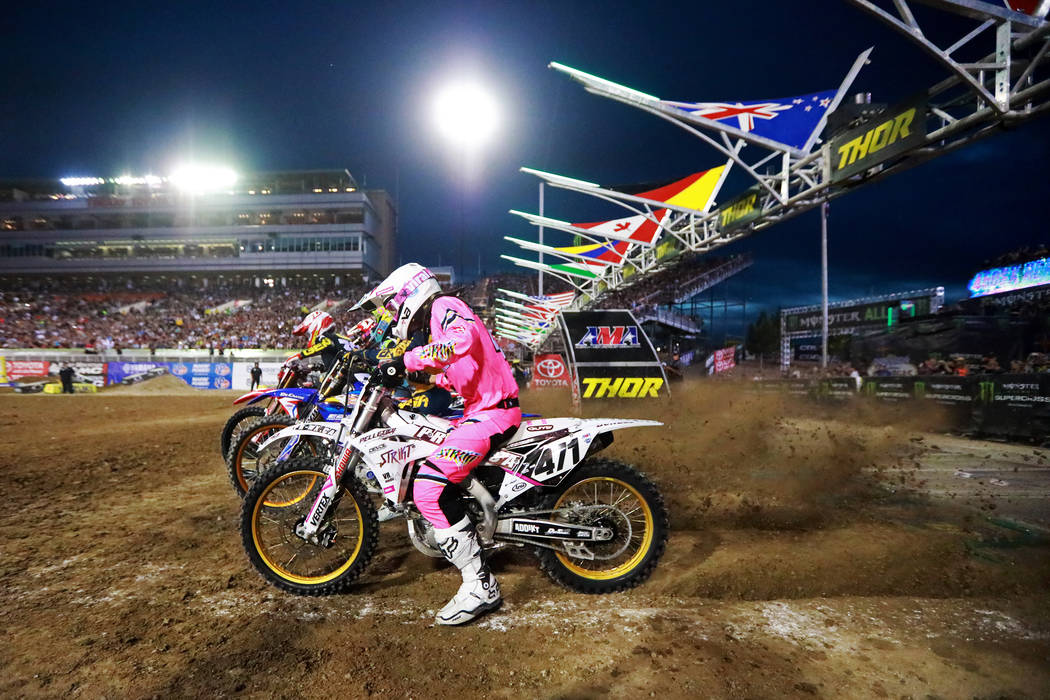 Riders compete in the 450SX second heat during the Monster Energy Supercross season final at Sam Boyd Stadium in Las Vegas on Saturday, May 5, 2018. Andrea Cornejo Las Vegas Review-Journal @dreaco ...