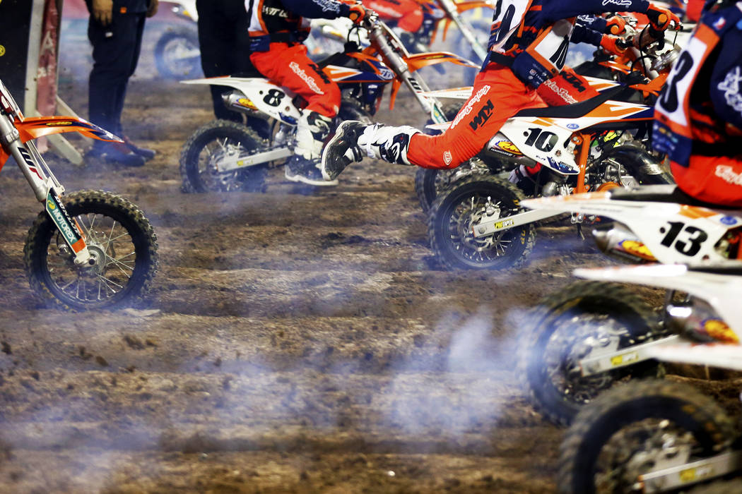 Young riders compete in the KTM Jr. Supercross Challenge during the Monster Energy Supercross season final at Sam Boyd Stadium in Las Vegas on Saturday, May 5, 2018. Andrea Cornejo Las Vegas Revie ...