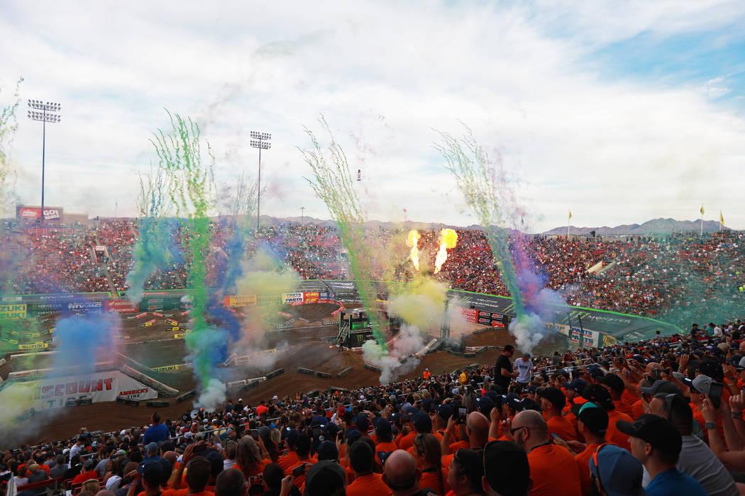 Fans attend the Monster Energy Supercross season final at Sam Boyd Stadium in Las Vegas on Saturday, May 5, 2018. Andrea Cornejo Las Vegas Review-Journal @dreacornejo